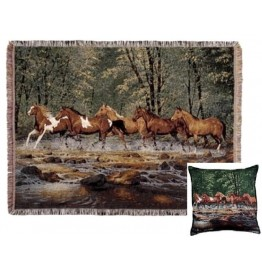 image for Spring Creek Run Horses Tapestry Throw & Pillow Set