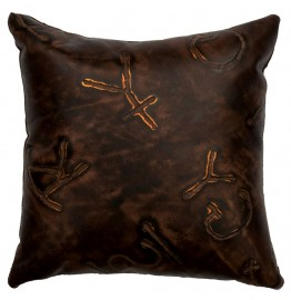 image for Brands Embossed Leather Throw Pillow 16 x 16