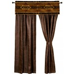 image for Stampede Valance & Faux Leather Drapery Set 84 Long