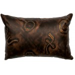 image for Brands Embossed Leather Throw Pillow 12 x 18