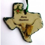 image for Texas Longhorn Pottery Christmas Ornament