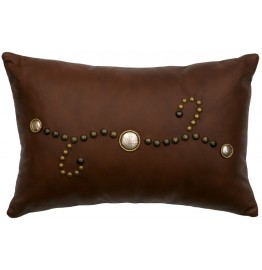 image for Silver Stud Design Brown Leather Pillow 12 x 18