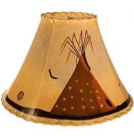 image for Indian Tepee Hand Painted Leather Lampshades