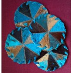 image for Turquoise Leather & Cowhide Leather Coaster Set of 4