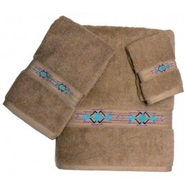 image for Taos Southwest Border 3-pc Bath Towel Set Linen