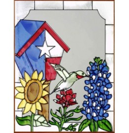 image for Texas Birdhouse & Wildflowers Art Glass Panel 11 x 14