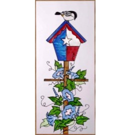 image for Texas Birdhouse & Hummingbird Art Glass Panel 9 x 20