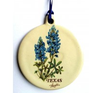 image for Texas Bluebonnets Pottery Christmas Ornament