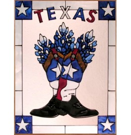 image for Texas Boots & Bluebonnets Framed Art Glass Panel 11 x 14