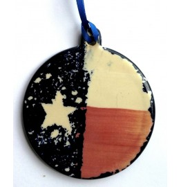 image for Country Style Texas Flag Pottery Christmas Ornament