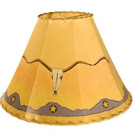 image for Texas Longhorn Skull Hand Painted Leather Lampshades
