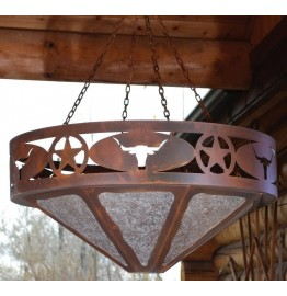 image for Texas Star & Longhorn Western Chandelier 24 inch
