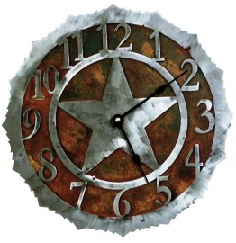 image for Texas Ranger Star in Circle Steel Wall Clock 12 inch