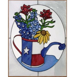 image for Texas Watering Can & Wildflowers Art Glass Panel 11 x 14