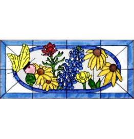 image for Texas Wildflowers Framed Art Glass Panel 20 x 9