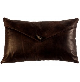 image for Horn Button Accent Brown Leather Pillow 14 x 22