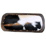 image for Tri-Color Cowhide Leather Lined Wood Dough Bowl 20""