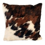 image for Tri-Color Cowhide Leather Throw Pillow 20 x 20