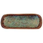 image for Turquoise Floral Tooled Leather Lined Wood Dough Bowl 20""