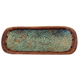 image for Turquoise Floral Tooled Leather Lined Wood Dough Bowl 36""
