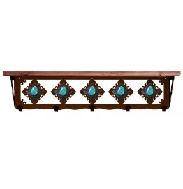 image for Turquoise & Burnished Steel 34 inch Wall Shelf (hooks avail)