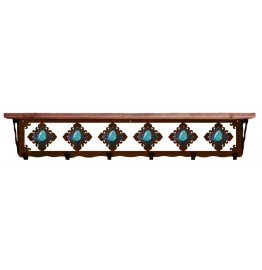 image for Turquoise & Burnished Steel 42 inch Wall Shelf (hooks avail)