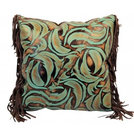 image for Turquoise Swirl Embossed Leather Throw Pillow 18 x 18