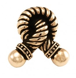 image for Twisted Rope Knot Design Pewter Knob SMALL Antique Gold