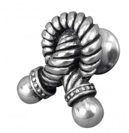 image for Twisted Rope Knot Design Pewter Knob SMALL Vintage Pewter