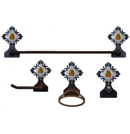 image for Unakite Stone Accent Towel Bar Set 4-piece Burnished