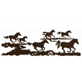 image for Herd of Running Horses Western Wall Art Sculpture 84 x 23