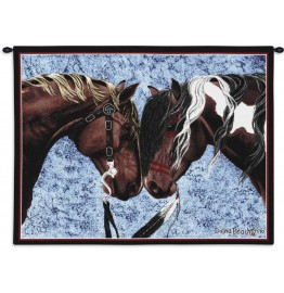 image for Warriors Truce Horses Wall Tapestry 32x26 & Rod