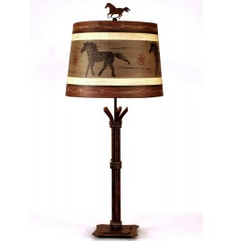 image for Western Horse Shade & Braided Iron Rod Lamp 32""