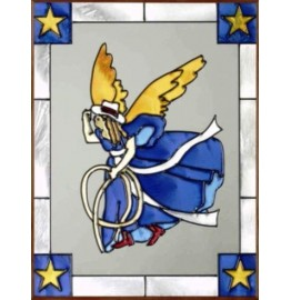 image for Cowgirl Angel Art Glass Panel 11 x 14 Frame Choices