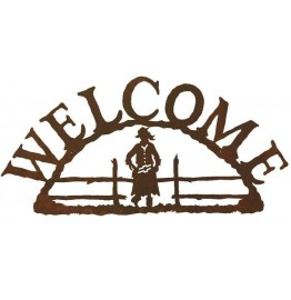 image for Cowgirl Figure Rustic Western Welcome Sign