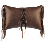 image for Leather Fringe & Toggle Accent Western Throw Pillow 12 x 18
