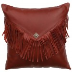 image for Western Red Leather Throw Pillow 16 x 16
