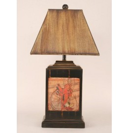 image for Saddle & Wagon Wheel Icon Pottery Lamp & Shade 30""