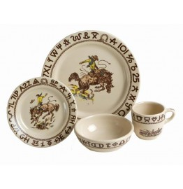 Westward Ho Rodeo Dinnerware 4-Pc Place Setting