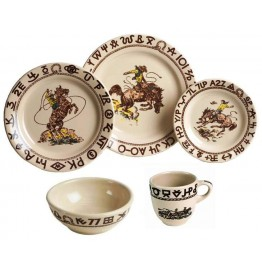 image for Westward Ho Rodeo Dinnerware 5-Pc Place Setting with Desert Plate