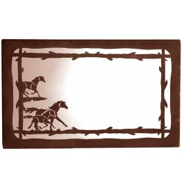 image for Wild Horses Horizontal Western Wall Mirror 25 x 15