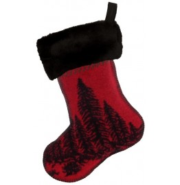 image for Wooded River Bear Wool Blend  & Faux Black Sable Fur Christmas Stocking