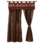 image for Yellowstone Valance & Faux Leather Drapery Set 84 Long