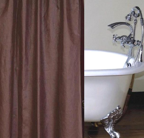 Brownstone Faux Leather Shower Curtain Custom Made