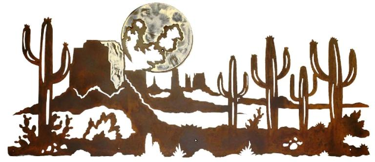 Desert Cactus Amp Moon Scene 60 In Burnished Steel Wall