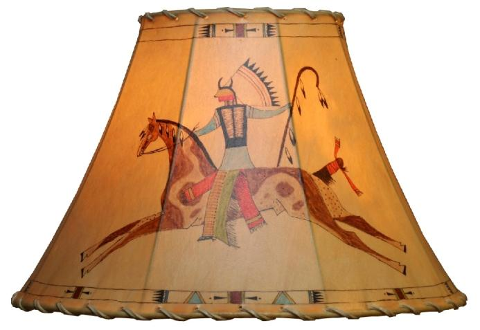 Indian War Chief Hand Painted Rawhide Leather Lampshade