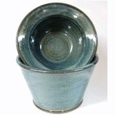 Blue Denim Color Dip Chiller of Thrown Pottery