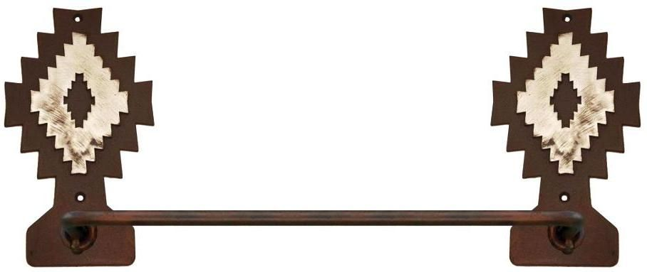 Navajo diamond burnished steel southwest 18 in hand towel bar for Southwestern towel bars