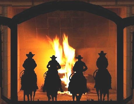 Cowboy Riders Custom Trifold Fireplace Screen